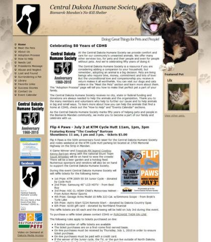ND Humane Society website screen shot